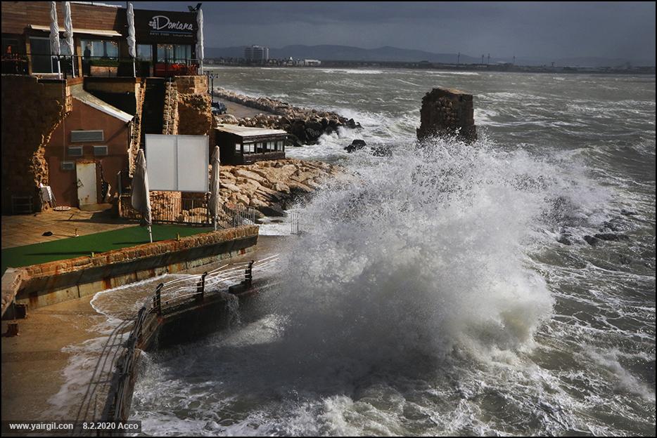 סערה חורפית וים גבוה