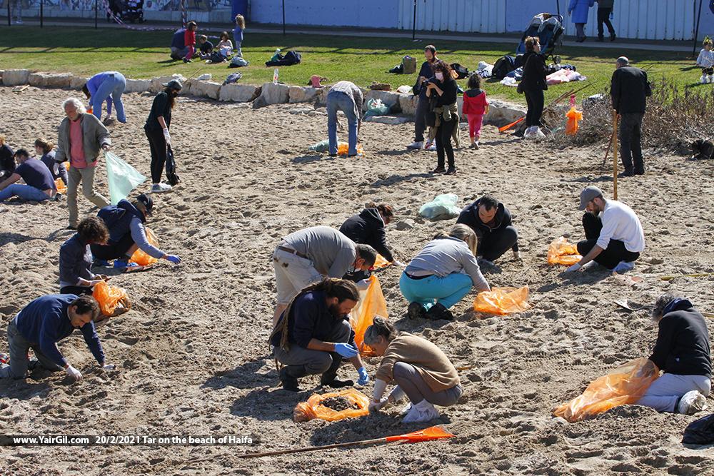 ניקוי זיהום הזפת בחוף חיפה
